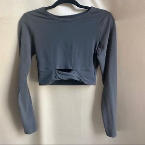 Victoria Sport Cropped Long Sleeve Top Grey XS-S